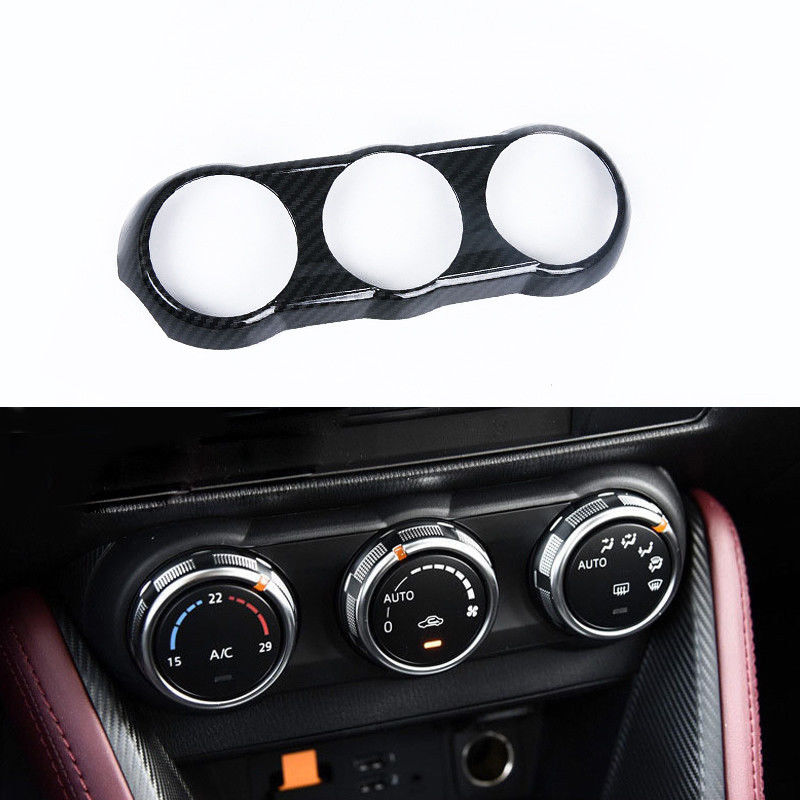 JY ABS Carbon Fiber Style A C Air Condition Switch Cover Trim Car Styling Accessories for