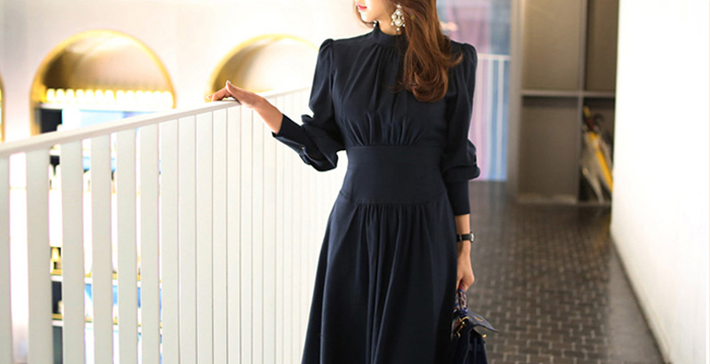 Office Ladies Stand Collar Lantern Sleeve Women Dress Elegant Slim Waist A-line Ruched Female Long Dress Party Vestidos femme 11