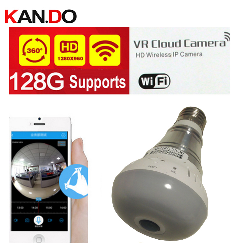 ФОТО support 128GB & SAVE 30 days 1.3MP 960P 360 Panorama Wifi IP Camera bulb camera lamp Surveillance Camera P2P VR camera camcorder