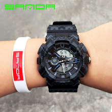 High Quality SANDA Brand Dual Time Waterproof Backlight Calender Digital LED Men Boy Wrist Watch Clock 999 OP001