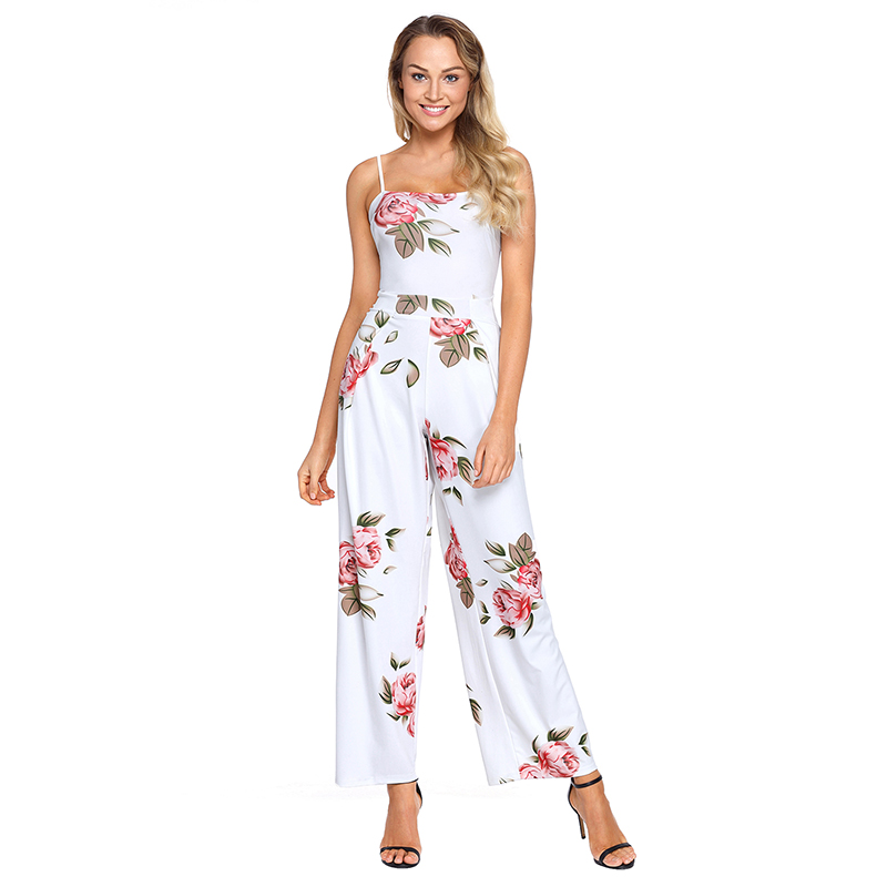 f697c563ffd9 ADEWEL Summer Floral Printed Jumpsuit Women Halter Sleeveless Wide Long  Pants Jumpsuit Rompers White Navy Fashion Long Jumpsuit-in Jumpsuits from  Women s ...