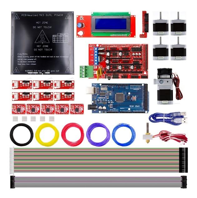 Kit de bricolage imprimante 3D rampes 1.4 + Mega 2560 + A4988 + moteur + LCD2004 + MK2A Heatbed + butée finale limite + MK8 extrudeuse RepRap + PLA 1.75 kit Filament