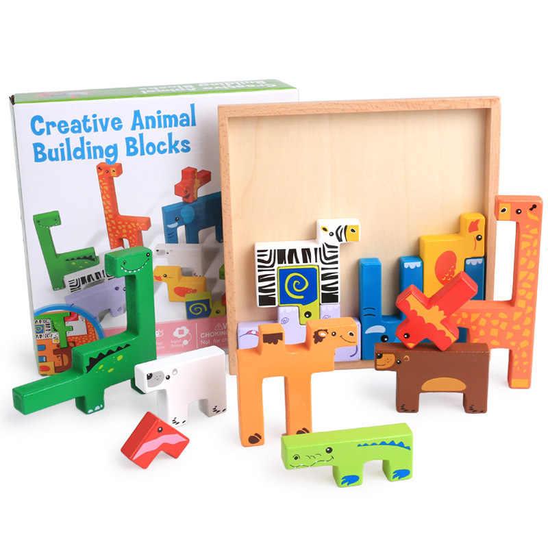 Животные строительные блоки Jigsaw Монтессори творческий с мультипликационным рисунком доска детские деревянные блок обучения детей развивающие красочные игрушки