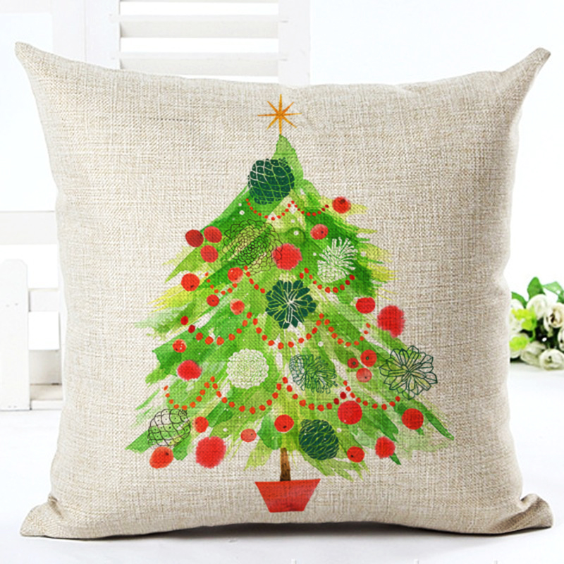 christmas series cushion merry christmas throw pillow cotton linen snowflake mistletoe cushion sofa car decorative pillows hh038 - Christmas Decorative Pillows