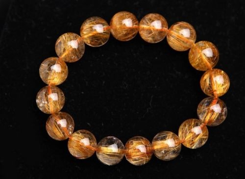 Huij 001671 13 mm Top cuivre naturel Quartz rutile perles puissant Bracelet AAAA