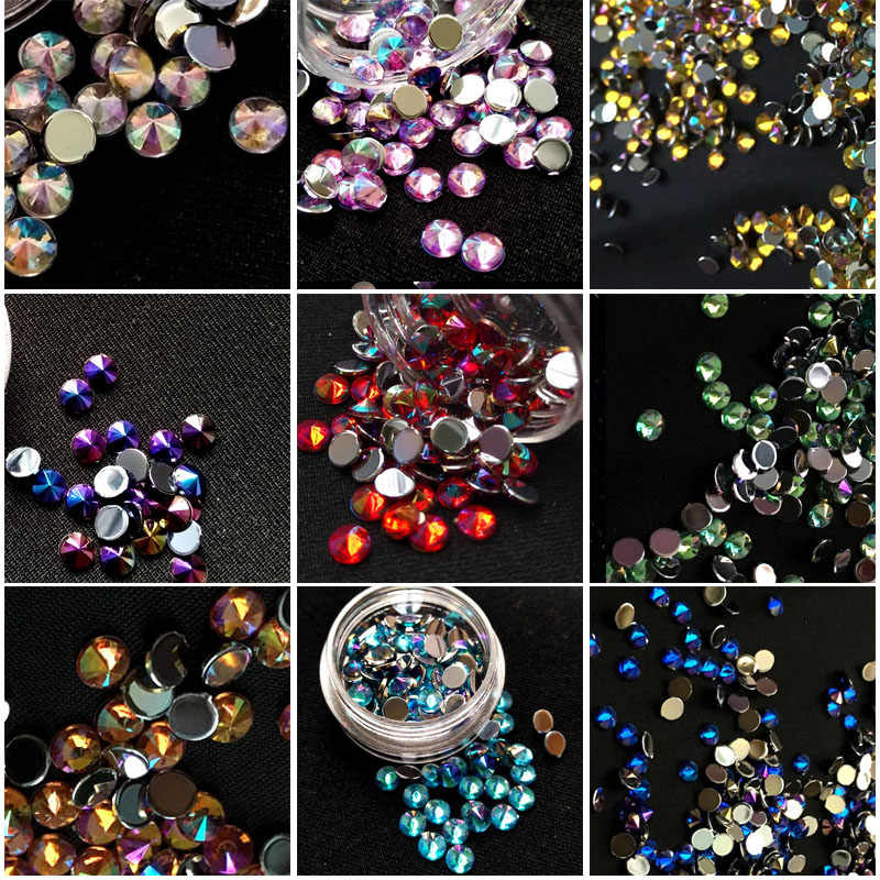 100 pcs/pack 4MM DIY Star Acrylic AB Crystal Rhinestones Tip Beauty Nail Art Decorations