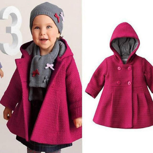 Meninas do bebê Inverno Casaco Com Capuz Quente 2016 Nova Da Criança Do Bebê Meninas Outono Inverno Botão Da Buzina Casaco de Ervilha Com Capuz Casaco Outerwear