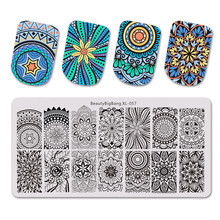 BeautyBigBang Spiral Screw Mandala Design Nail Stamping Plate Stencil 6*12cm For Art Tools Plates Mold XL-057