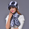 Rex Rabbit Fur Hat Scarf Set Autumn Winter Genuine Girls Natural Real Fur Scarves Elegant Warm Scarf Hat Two Pcs Set