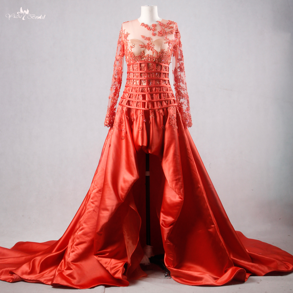 RSE757 Real Pictures Yiaibridal Persimmon Satin Boned Lattice Pattern Lace Long Sleeve High Low Prom Dress