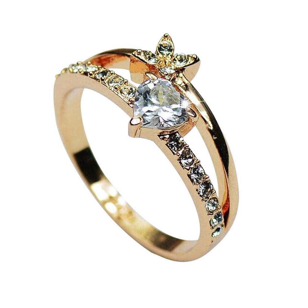 100% Wahr Mode Frauen Doppel Schichten Zirkonia Herz Blume Ring Hochzeit Schmuck Heißer üBerlegene Materialien
