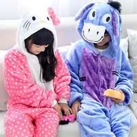 Winter Warm Long Sleeve Pyjamas Kids Cartoon Cat And Donkey Cosplay Animal Onesie Flannel Children Sleepwear