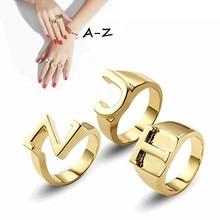 Модные кольца для A-Z с английскими буквами, открытый размер, первоначальное кольцо с алфавитом влюбленных, друзей, лучшие подарки, вечерние свадебные украшения для помолвки