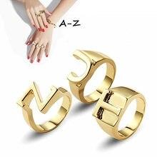 Moda inglês carta A-Z anéis de tamanho aberto inicial alfabeto anel amantes amigos melhores presentes festa noivado casamento jóias
