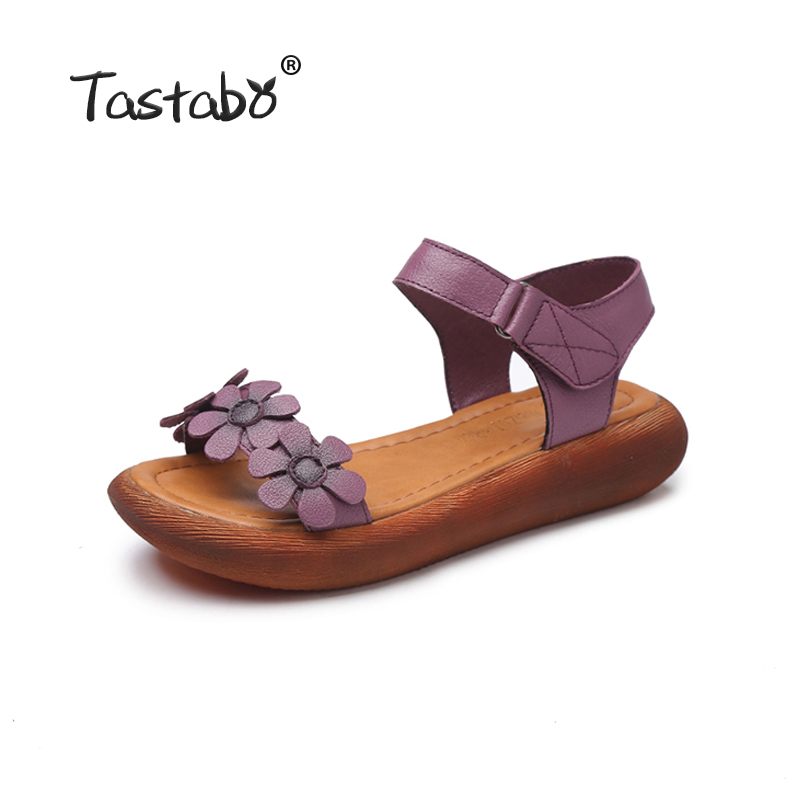Tastabo Genuine Leather Gladiator Sandals 2018 Fashion Low Wedges Flower Summer Shoe Ladies Platform Sandal Red