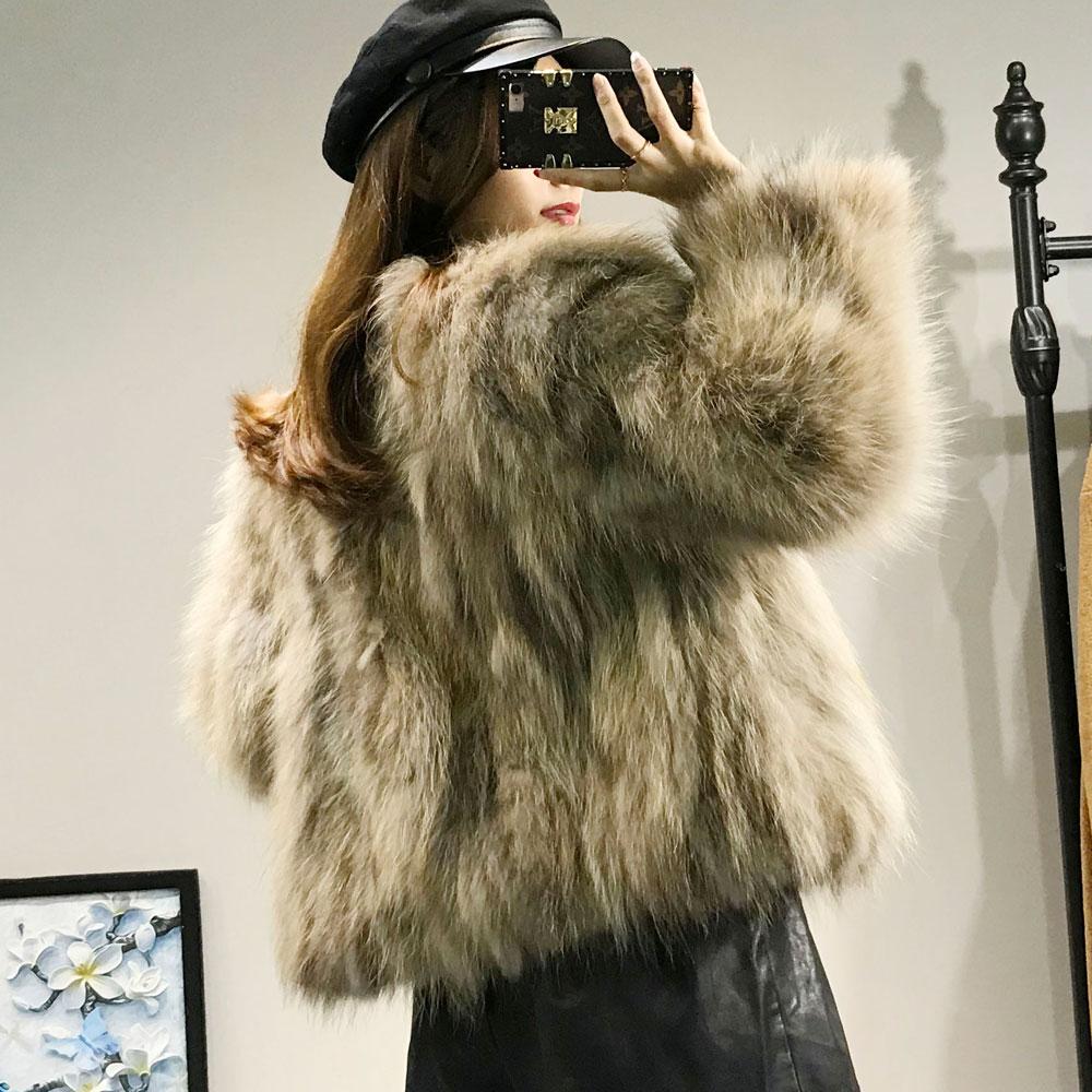 Laveur Épaisse Cou Arrivée De Manteau À Ras Raton Beige Du Outfit Fourrure Nouvelle Qualité Haute 2018 Véritable khaki Veste Femmes Longues Manches Renard Hiver 57InAaxqaw