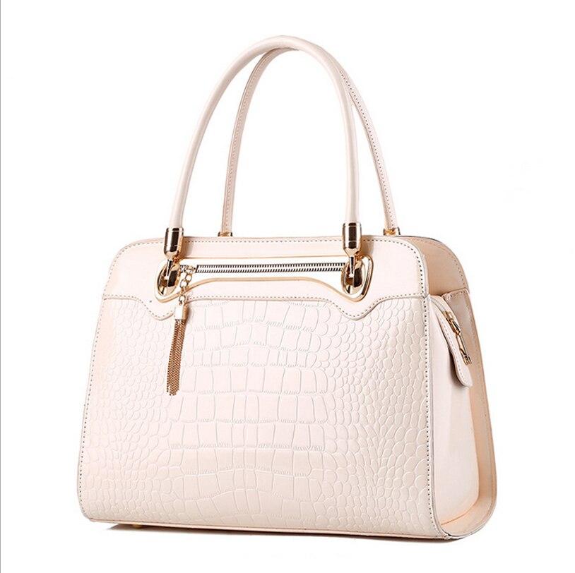 2016 new fashion luxury women handbag designer patent leather solid handbag alligator zipper hasp for girls shoulder bag punk