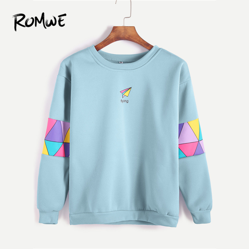 ROMWE Pale Blue Patchwork Print Letter Geometric Sweatshirt Women  Spring Autumn Casual Clothing Female Round Neck Pullover