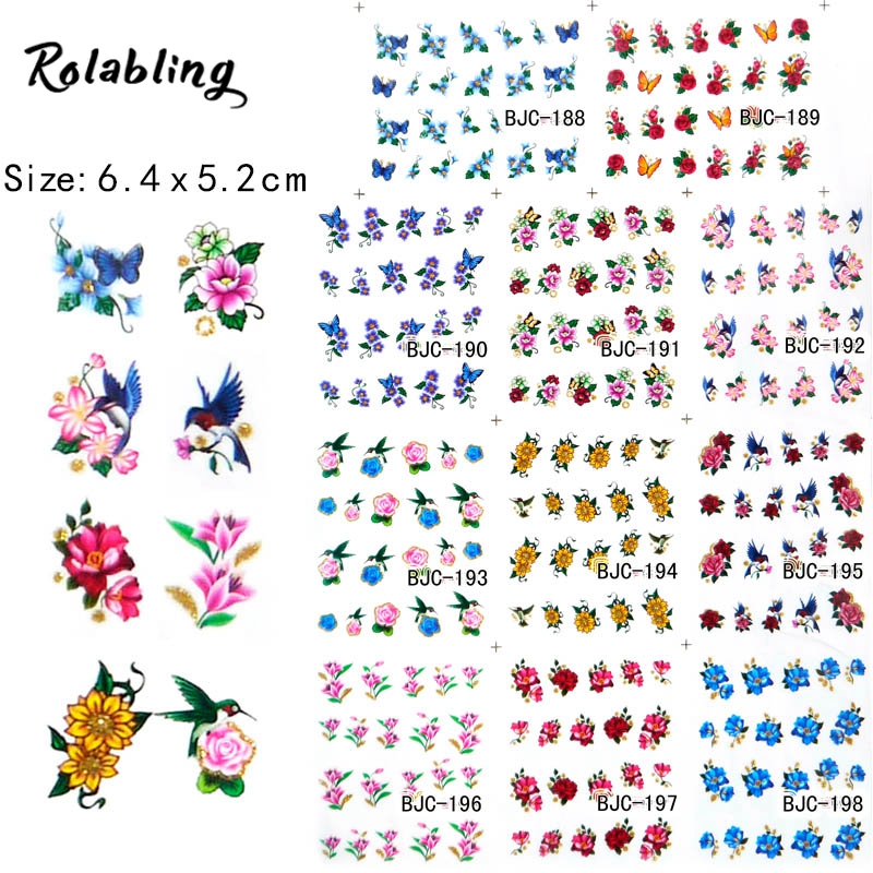 Rolabling New BJC188-198 11 sheet/SET Tip Nail Art Glitter Flower Nail stickers for nails Nail Decal Manicure Flower for Women 15 bag french manicure smile tip guides pedicure diy nail art stickers brand women makeup tools for nail art