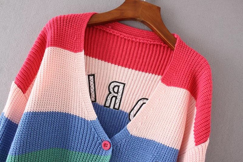 Danjeaner V Neck Single Breasted Knitted Cardigans Women Harajuku Rainbow Stripes Letter Long Sleeve Sweaters Streetwear Jumpers 7
