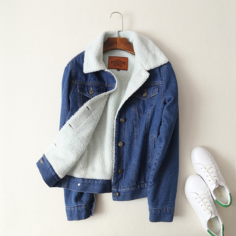 Winter Denim Jacket 2018 Women Thicken Warm Fleece Outerwear Solid   Coats   Female Solid Basic Tops Ladies Wide-waisted Clothes