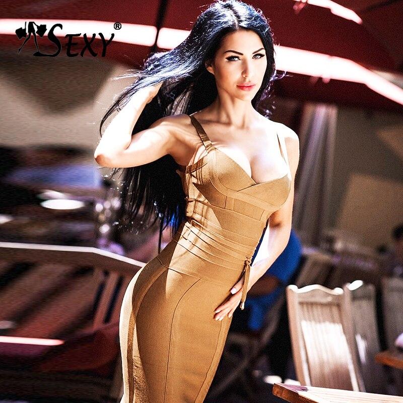 Gosexy Women's Bandage Dress New Sexy Spaghetti Strap Deep V Backless Fashion Dress Bodycon Femme Vestidos Club Party 2018 New женское платье brand new v bodycon dress