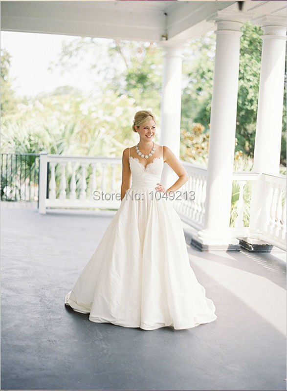 Dream classic spaghetti thin straps simple a line pockets for A line wedding dress with pockets