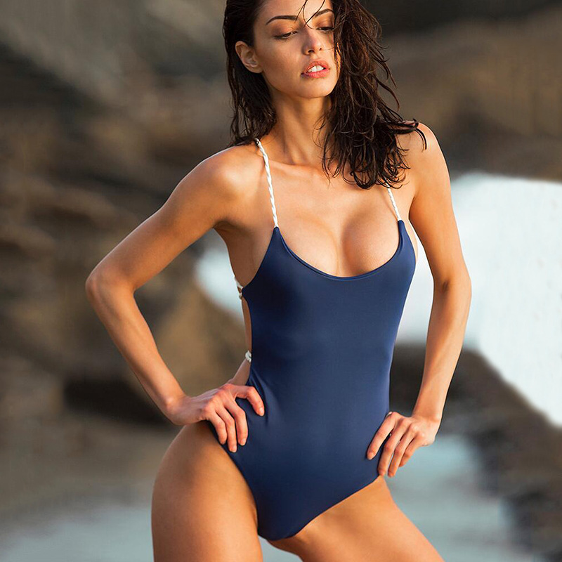2017 New Sexy Backless Bandage One-piece Swimsuit Bikini Bathing Suit Swimwear High Quality