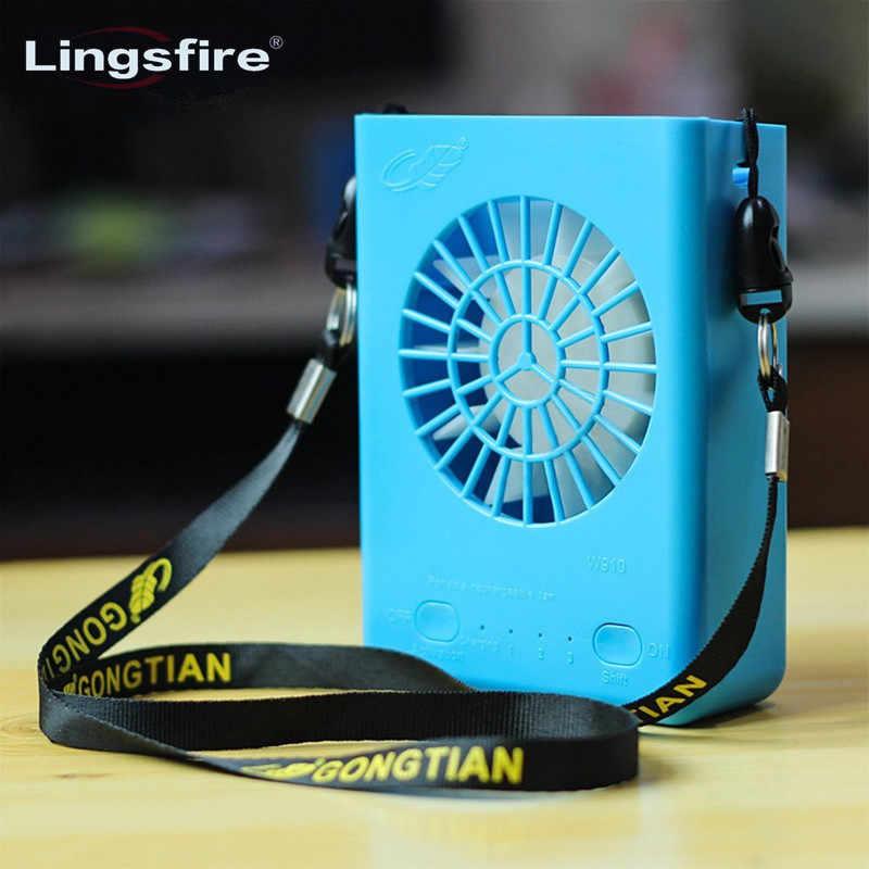 Color : Blue Air Cooler Summer USB Fan Multi-Function Portable Handheld Desktop Fan Large Capacity Battery Strong Wind Cooling Fan