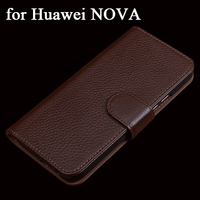 Custom 2017 Wallet Case with Card Coin Holder Genuine Leather Case for Huawei NOVA Cases Business Flip Folding Phone Cover Bag