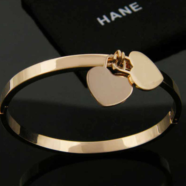 Hot New Fashion Gold Color 316L Stainless Steel Bangels two heart double T letter Bracelets for women jewelry wholesale 3
