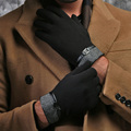 2016 England  autumn winter men new classic  Belt Buttons soft lining touch screen cotton driving warm sheepskin gloves mittens