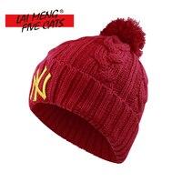 LMFC Mode Pomponmuts Voor Vrouwen Grils Skullies vrouwen mutsen Warm Gebreide Muts Vrouwelijke Winter Cap Merk Vrouwen Beanie hoed
