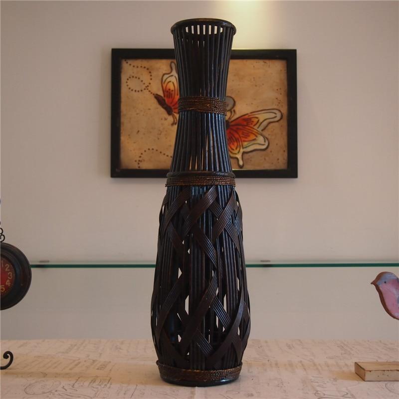 kingart classic large floor bamboo vase fashion home decor craft antique imitate flower floor vase for