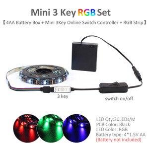 Светодиодная лента на батарейках RGB 5 в SMD 5050 2538 водонепроницаемая светодиодная лента Tira IR RF с пультом дистанционного управления на батарейк...