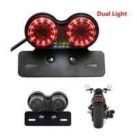 1Pcs Motorcycle LED Twin Dual Tail Turn Signal Light Brake Taillights License Plate Integrated Light Universal