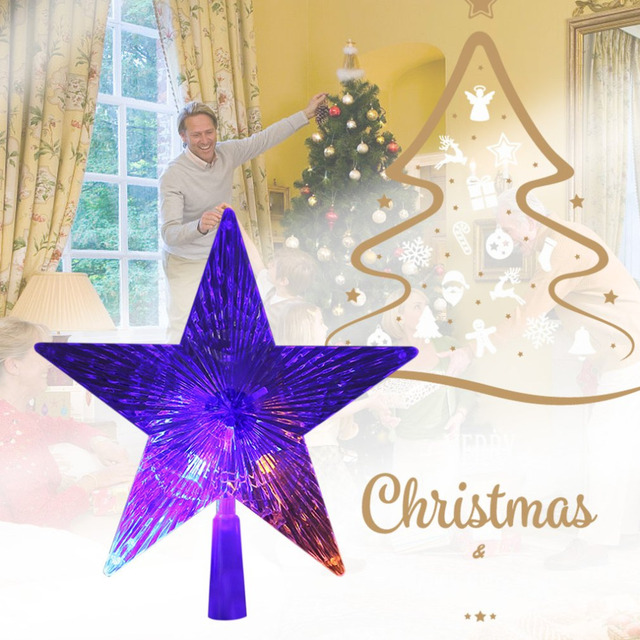 Christmas Tree Decorations Lights Transparent Pentagram Shaped Lamp Home Decor Ornament Party Hanging Star Dropshipping