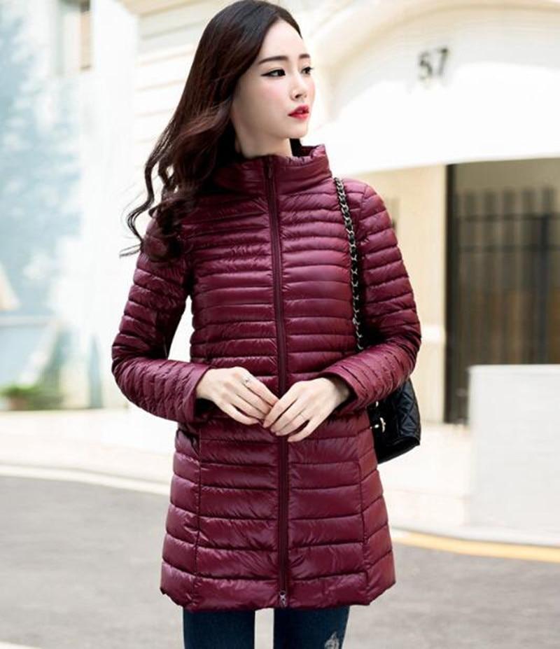 2016 En Kaliteli Marka Bayanlar Uzun Bahar Sonbahar Palto Kadın Ultra Hafif Çanta Ile 90% Beyaz Ördek Aşağı Ceket bayanlar ceketler
