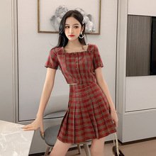 Print Plaid Square Collar Vintage Blouse and Mini Skirt Casual Red 2 Piece Set Summer Clothes for Women Two