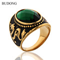 BUDONG Brand 2017 Wide Dragon Carved Finger Band Stainless Steel Ring for Men Punk Green Green Oval CZ Crystal Jewelry BR071