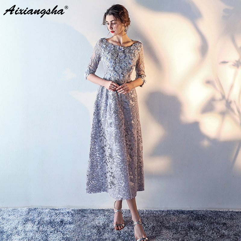 2018 High Quality Lace   Evening     Dress   Elegant Scoop Lace Up Back Long   Dress   Gray vestidos vestido de festa longo Abendkleider