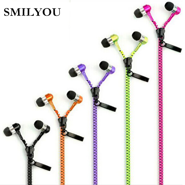 SMILYOU Metal Zipper Earphone 3.5mm In-Ear Wired Ear Phones With Microphone Stereo Bass Earbuds For Mobile Phone MP3 MP4 Music kst x2 in ear stereo earphone with metal earbuds