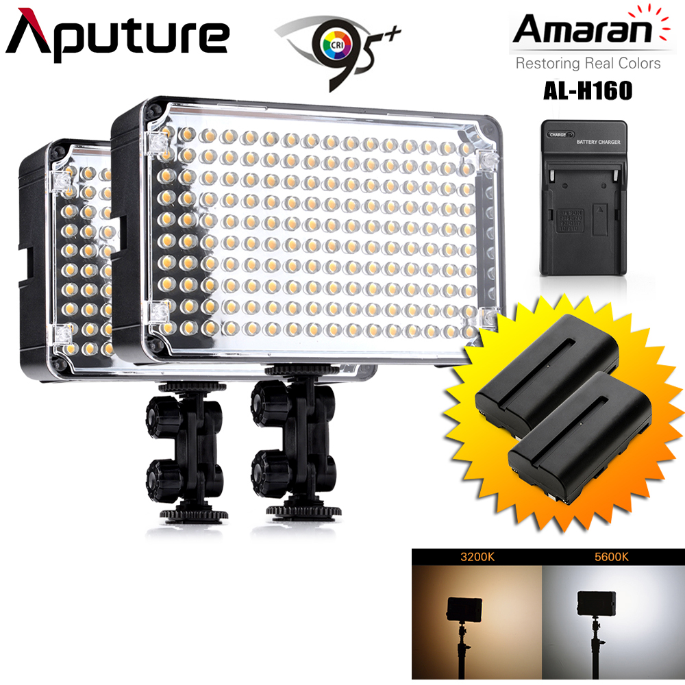 2 шт./лот Aputure Amaran AL-H160 CRI95 + 160 шт. LED видео студийное освещение Панель на Камера фотографии освещения с Батарея и Зарядное устройство