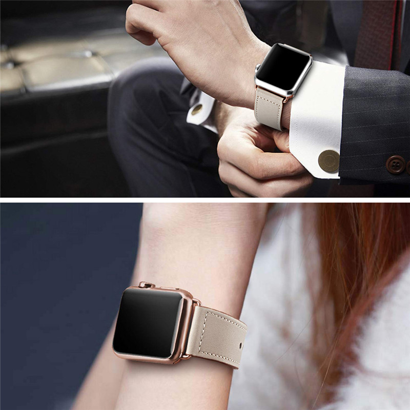 Ivory White Genuine Leather Watch Band Strap For Iwatch 38mm 44mm VIOTOO Black Color Leather Watch Band Strap For Apple Watch in Watchbands from Watches