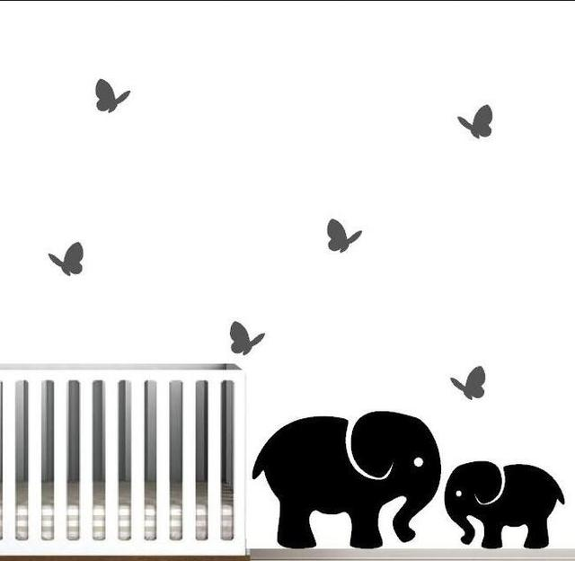 nursery wall decal, jungle wall art, elephants with butterflies wall