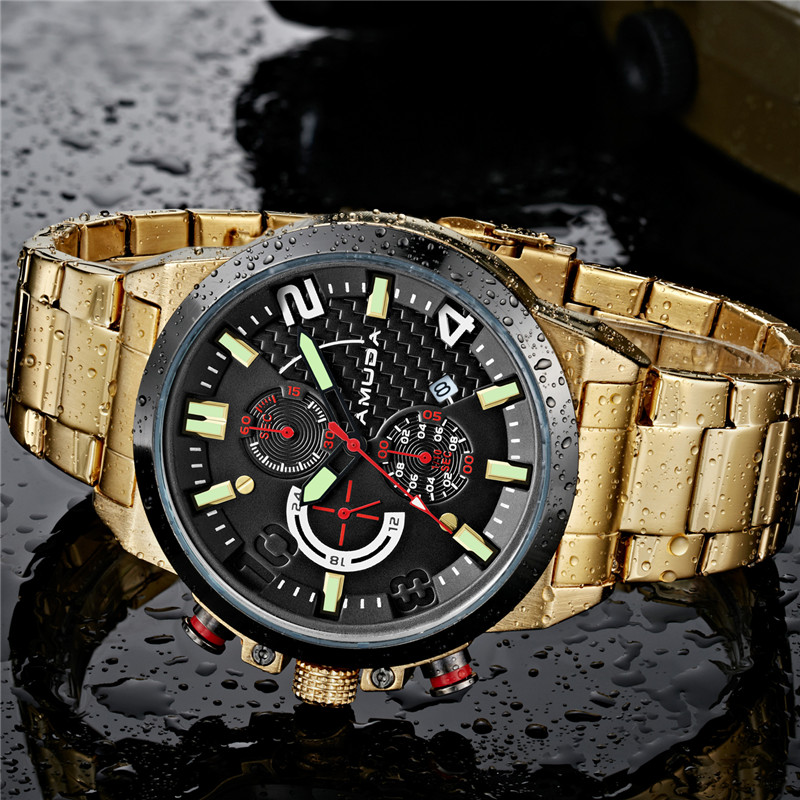 2017 Amuda Gold Watch Luxury Brand Full Steel Chronograph Mens Watches Business Date Relogio Masculino Quartz-Watch Reloj Hombre
