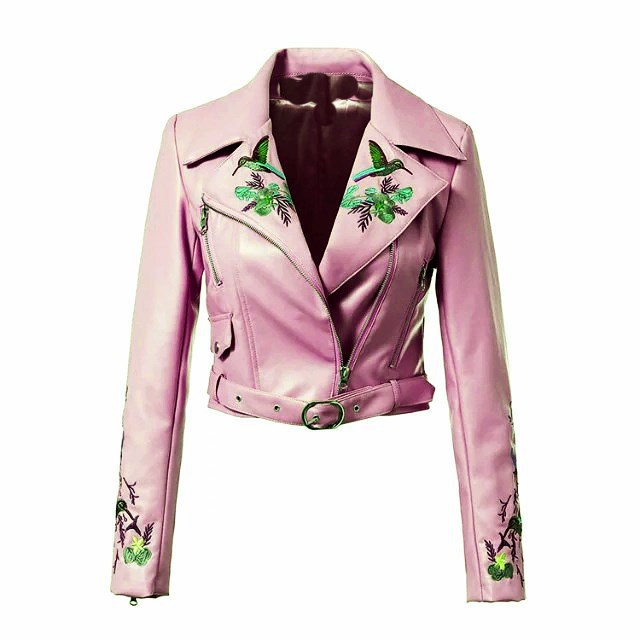 Autumn Women Floral Embroidered Pu   Leather   Jacket Turn-Down Collar Long Sleeve Bomber Basic Jacket Zipper Belt Short Jacket