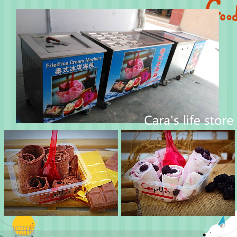 220V R22 single Pan Thai fry ice cream roll machine
