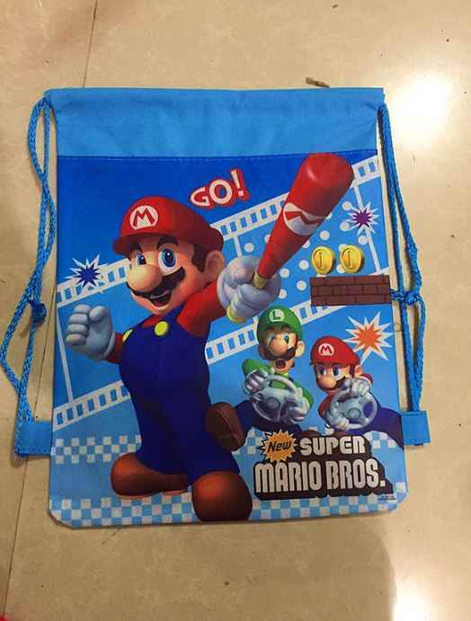 4 pcs/lot Cute Super Mario Bros Theme Birthday Party gift non-woven  Drawstring goodies bags kids favor swimming school backpacks
