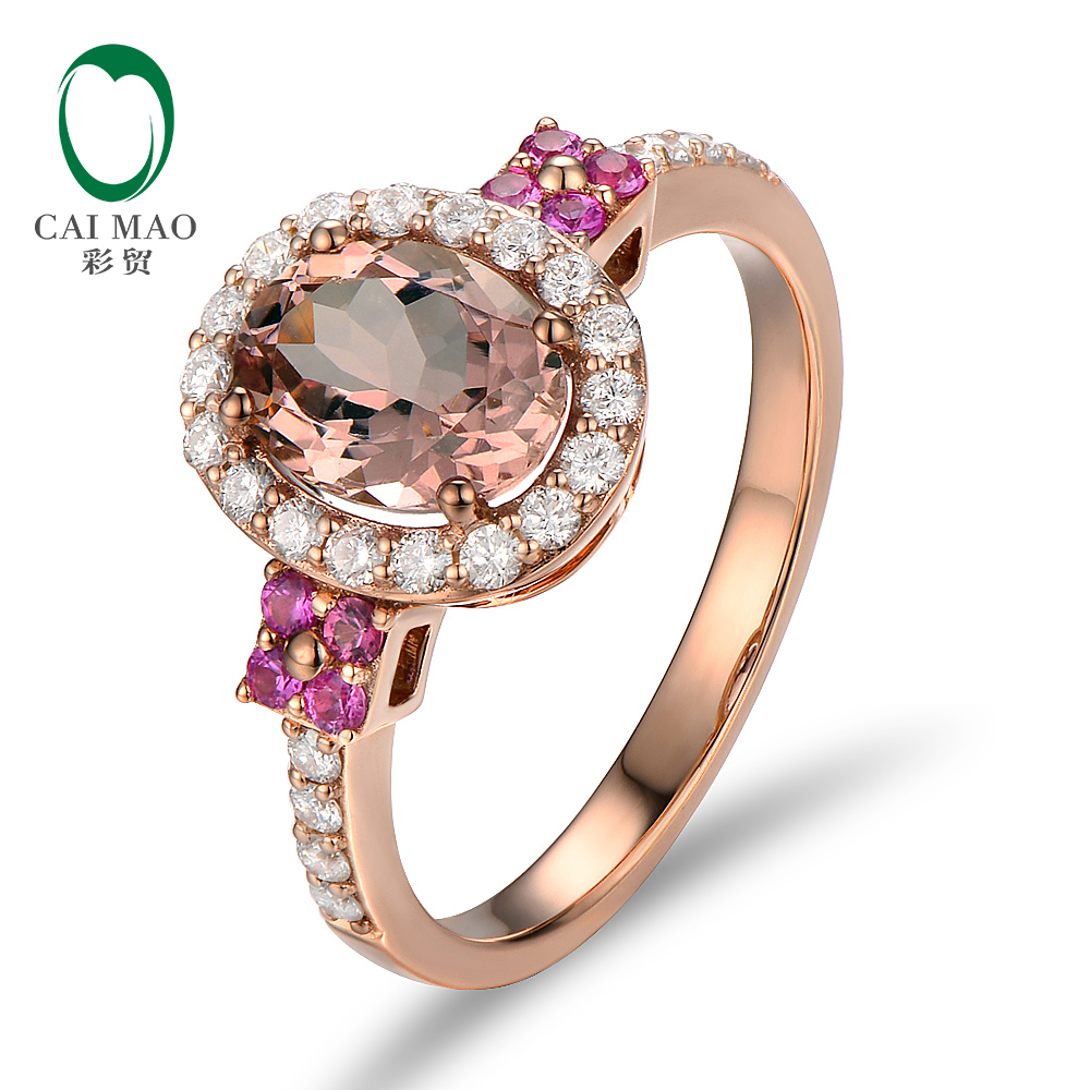 Unplated 18K/Au750 Rose Gold 1.80ct Natural Morganite 0.55ctw Diamonds & Pink Sapphires Engagement Ring new pure au750 rose gold love ring lucky cute letter ring 1 13 1 23g hot sale